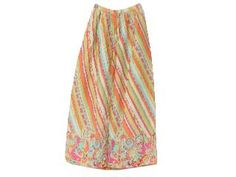 The 1960s hippy clothing included skirts that were colorful, flared and funky.Some of the skirts are available in 3 tiers with floral prints and appliqué work. Patches of cloth that have varied prints can be stitched together to make a beautiful hippy skirt.  Count as 2 pins