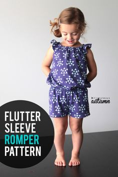 pattern for girls flutter sleeve romper & sewing tutorial Adorable toddler romper pattern with flutter sleeves! How to sew a romper for girls.Adorable toddler romper pattern with flutter sleeves! How to sew a romper for girls. Sewing Patterns For Kids, Easy Sewing Projects, Sewing For Kids, Baby Sewing, Free Sewing, Sewing Tutorials, Sewing Tips, Sewing Hacks, Pattern Sewing