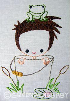 Boy in Garden Pail Girl in Flower Pot Cutesie by greenbeanbaby, $2.50