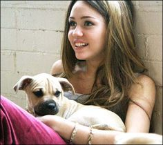 miley cyrus when she was little | miley cyrus with a cute puppy