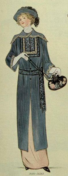 China-Inspired Blue Satin Coat