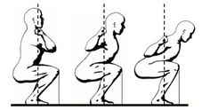 Barbell Squat Variations: Right - low bar for posterior chain. Middle - high bar for anterior chain. Left - front for anterior chain development with glute engagement.