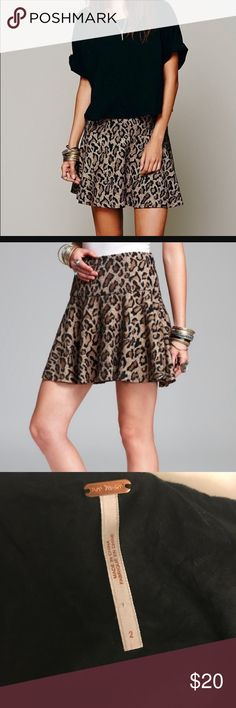 Free people leopard flare mini skirt Worn twice and perfect for fall! Size 2 and no flaws :) Nordstrom, free people, urban outfitters, anthropologie Free People Skirts Mini