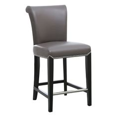 Leather Counter Stools, Bar Stools, Grey Leather, Bonded Leather, Cushion Filling, Brown And Grey, Gray, Foot Rest, Seat Cushions