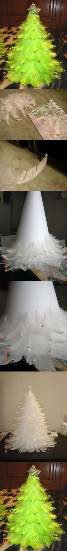DIY Christmas Tree out of feathers feathers diy christmas easy crafts diy ideas…