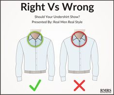 Use an underwear shirt with a deep v- neck under your dress shirt not a regular weight t-shirt.The fit should be snug. Mens Style Guide, Men Style Tips, Style Men, Suit Fashion, Mens Fashion, Suit Fit Guide, Real Men Real Style, Man Dressing Style, Men's Grooming