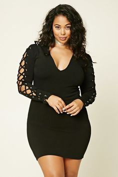 Forever 21+ - A knit bodycon dress featuring lace-up accents with grommets on long sleeves, a V-neckline, and a concealed back zipper. #PlusSizeLingerie