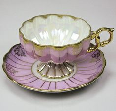 Vintage Scalloped Lavender and Pearl Bone China Teacup and Saucer