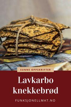 Deilige lavkarbo-knekkebrød som passer til både frokost, lunsj og kveldsmat - Funksjonell Mat | Lavkarbo oppskrifter | Sunne oppskrifter | Lavkarbo lunsj | Lavkarbo frokost | Low carb | Knekkebrød oppskrift Lchf, Keto, Tahini Dressing, Shawarma, Tapas, Food To Make, Low Carb, Baking, Healthy