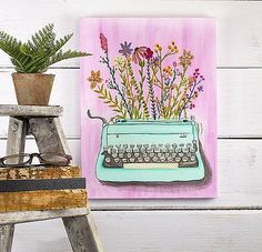 Create this project with Americana® Premium™ Acrylics — Bring writing to life by painting flowers out of a typewrite with DecoArt Premium Tube Acrylics paint!