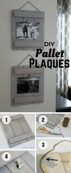 Use This Rustic Pallet Plaques To Show Off Your Photos. #rustichomedecor
