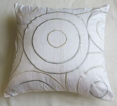 white and  silver circle throw pillow cushion cover