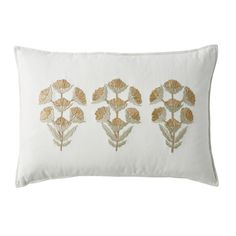 A trio of flowers on this pillow cover adds a shimmery splash wherever it's placed. Embroidered in metallic gold and silver on a cream-colored ground of cotton. The Company Store Throw Pillow Covers, Throw Pillows, Patio Pillows, Lumbar Pillow, Accent Pillows, The Company Store, Monogram Shop, Gold Home Decor, Floral Pillows