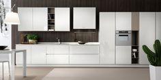 """Cucina moderna lineare """"Space"""" – Laccato """"bianco"""" lucido"""