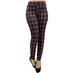 Red & Black Plaid Stretchy High Waist Leggings ($22) ❤ liked on Polyvore featuring pants, leggings, footless tights, leg wear, red, high-waisted pants, high-waisted leggings, plaid leggings, red plaid pants and red pants