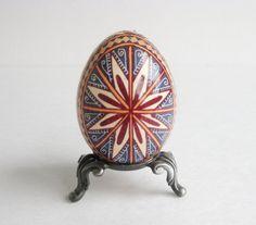 Pysanka batik egg on chicken egg shell by UkrainianEasterEggs