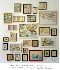 Illustrations in frames. I can buy the frames in thrift shops. Goes back to the idea of family portraits. Maybe include some text in some frames?