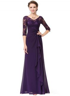 Women's V Neck Lace Half Sleeve Prom Evening Dress