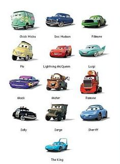 disney cars characters pictures and names | Car Pictures Poster from Movie Cars and Cars 2