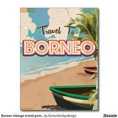 Vintages Reiseplakat Art. Borneos Postkarte