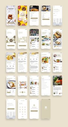 Good Food Recipes App UI Kit UI Place Good Food Recipes App UI Kit is a pack of delicate UI design screen templates that will help you to design clear interfaces for food recipe app faster and easier. File includes all recent Sketch App features suc Ios App Design, Mobile App Design, Android App Design, Mobile App Ui, User Interface Design, Wireframe Design, Restaurant Layout, Restaurant App, Restaurant Delivery