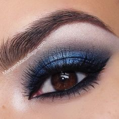 'Midnight Rush' - a vibrant blue smokey eye that really shows off her brown eyes