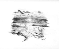Sylt Abendstimmung - Bleistiftzeichnung - 9/96 | ©Manfred Cremer, Bensberg, DE