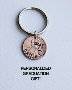 This would be the perfect gift to give the high school or college graduate in your life for their graduation! This penny is personalized with a heart around the year of their graduation and their name along the left side of the penny. Graduation 2016, Graduation Presents, Graduation Ideas, Graduation Decorations, Graduation Cards, Personalized Graduation Gifts, Personalized Cups, Grad Parties, Graduate School