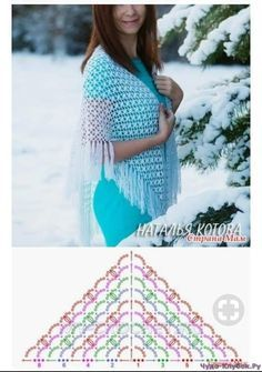 Always aspired to discover how to knit, yet unsure how to start? This kind of Total Beginner Knitting Sequence is exactl. Crochet Shawl Diagram, Crochet Wrap Pattern, Crochet Wool, Crochet Poncho, Crochet Chart, Crochet Scarves, Crochet Clothes, Crochet Stitches, Crochet Patterns