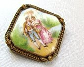 Antique Victorian Hand Painted Czech Porcelain Brooch Pin Courting Scene
