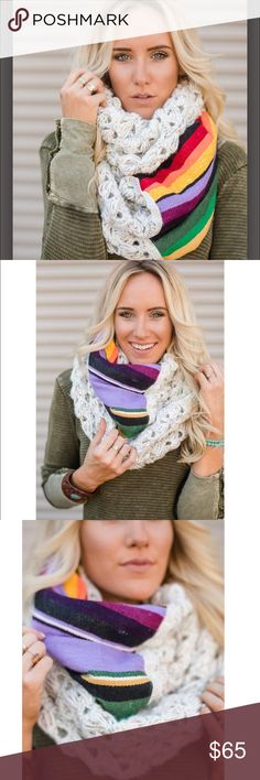 Three Birds Nest Crochet Oversized Scarf NWT - Proud retailer of three birds nest products - Price is Firm unless bundled - This Oversized Crochet Loved Boho Scarf has flecks of beautiful oatmeal tween blended into the yarn of this chunky scarf. Accented with woven Mexican Sarape blankets and trimmed in lace Open crochet pattern is beautiful for wearing as a snood, chunky scarf or shawl (over both shoulders). Three Bird Nest Accessories Scarves & Wraps