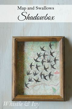 Map and Swallows Shadow Box {Whistle and Ivy}