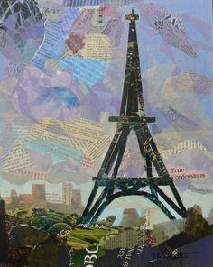 "Paris Skyline by Carol Schiff | $100 | 11""w x 14""h | Original Art | http://www.vangoart.co/carolschiffstudio/paris-skyline @VangoArt"
