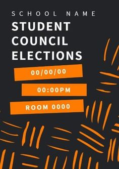 Orange Lines pattern and text bx with grey back and white text student council elections Student Council Posters, Orange Line, Line Patterns, School, Grey, Mindful Gray, Gray