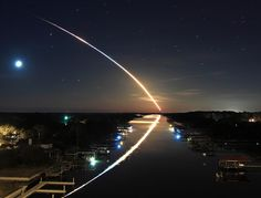 Shooting star and its reflection