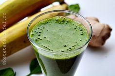 smoothie de spanac,banane si ghimbir Vegetarian Recipes, Healthy Recipes, Eat Smart, Juice Smoothie, Nutribullet, Raw Vegan, Baby Food Recipes, Healthy Lifestyle, Food And Drink