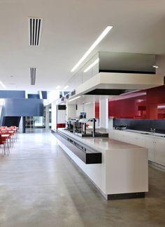 New Flagship Office / ESA Architects Kitchen Office, Open Kitchen, Office Wall Art, Office Walls, Lunch Room, Open Office, Office Lighting, Office Workspace, Break Room