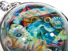 "Bracelet ""Neptune's treasures"" bracelet, silver, silversmith, jewel, lampwork, confettini, авторское стекло, авторский лэмпворк, браслет, серебро, украшение, ювелирка"