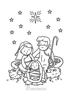 Free printable Nativity coloring page. Download it at https://christmasowl.com/download/coloring-page/nativity/