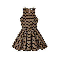 Dusen Dusen Tan Waves Tennis Dress ($168) ❤ liked on Polyvore