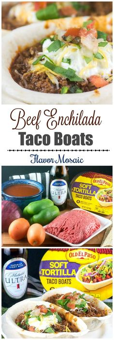 Beef Enchilada Taco Boats are cute, easy-to-assemble tacos, and a delicious way to enjoy the big game! #ad - @FlavorMosaic