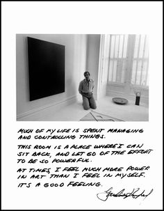 """Jim Goldberg USA. San Francisco, California. 1980. """"Much of my life is about managing and controlling things. This room is a place where I can sit back, and let go of the effort to be so powerful. At times, I feel much more power in art than I feel in myself. It's a good feeling."""""""