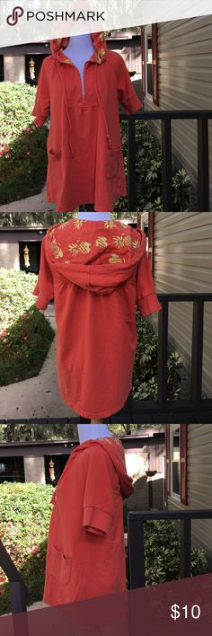 Free people women's coverup Orange pullover over hoodie, short sleeve with pockets in front and ties. V neck, pineapples print inside hood . Great for beach cover up.95%cotton 5% spandex sweatshirt material.no stains or holes. Free People Tops Sweatshirts & Hoodies