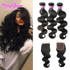 Brazilian Virgin Hair Body Wave With Closure Ms Lula Hair With Closure And Bundles Human Hair Weave 3 Bundles With Lace Closure