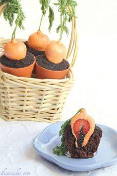 Easter Cupcakes: Carrots in Garden Pots  Surprise Carrots