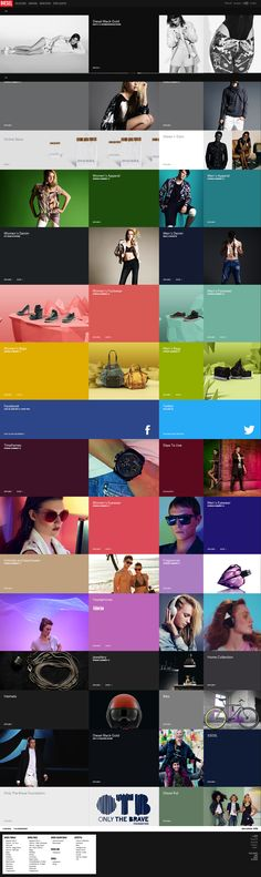 Diesel's website in 2011 that uses layout to smoothly showcase their products with links next to them for that section. They matched the colors and integrated their social media pages into the website homepage.