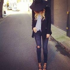 hat, stripes, blazer, ripped denim, lace up heels