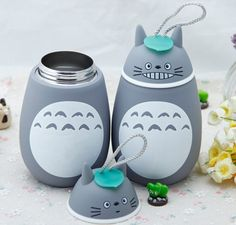 2pcs/set My neighbor Totoro figures Insulated Cup Cute Totoro Stereoscopic Stainless Steel Mug Students Thermos bottle Kids Gift(China (Mainland))