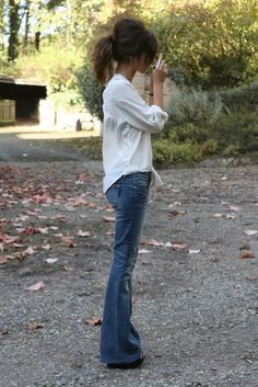 love this white style of top with these flare jeans