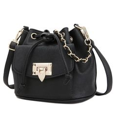 KGS Tas Casual Wanita Flapped Pocket  Bucket Shoulder Bag - Hitam - Int: One size Rp 201.800